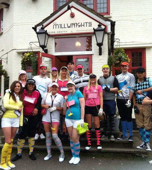 Pub Golf - one of the easiest and most popular fancy dress themes! Sophie Evans (front row, white top!) pulled out some hot pink shorts and accessorised with our Golf Socks! xx
