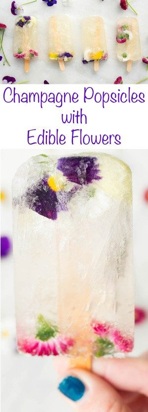 Champagne Popsicle recipe made with St. Germain and Edible Flowers. The perfect summer brunch treat!