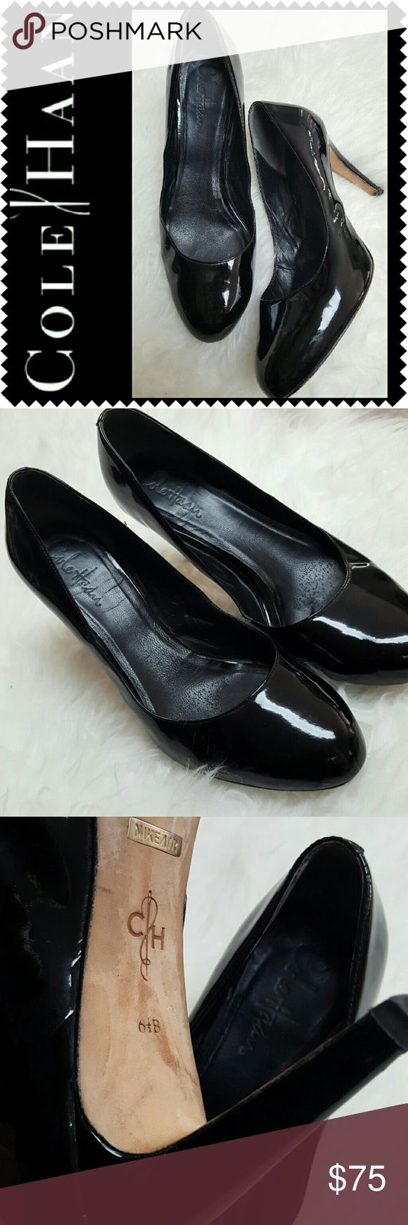 Cole Haan Patent Leather Pumps Cole Haan Signature Shoes in Classic Black! Shiny Patent Leather Style with Round Toe! About 3.5 inches Heels, a Cole Haan Must!  Features Nike Air Technology for Excellent Comfort and Grip! Worn in Good Condition! Cole Haan Shoes Heels