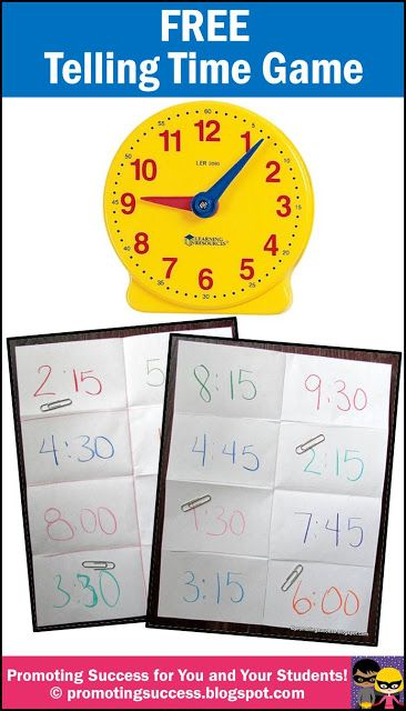 FREE Telling Time Game - REPIN to save for later.  Your students will love this FREE (easy prep) telling time game!  Visit our blog for lots more free teaching ideas and resources! https://www.pinterest.com/pin/102105116529239924/