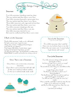 Snowman Songs, finger plays and poems