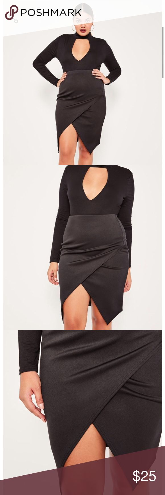 Asymmetric black midi skirt⚡️price firm⚡️ Beautiful brand new with tags us size 20 Asymmetric black midi skirt. Feel free to ask any questions 😊 ASOS Curve Skirts Midi