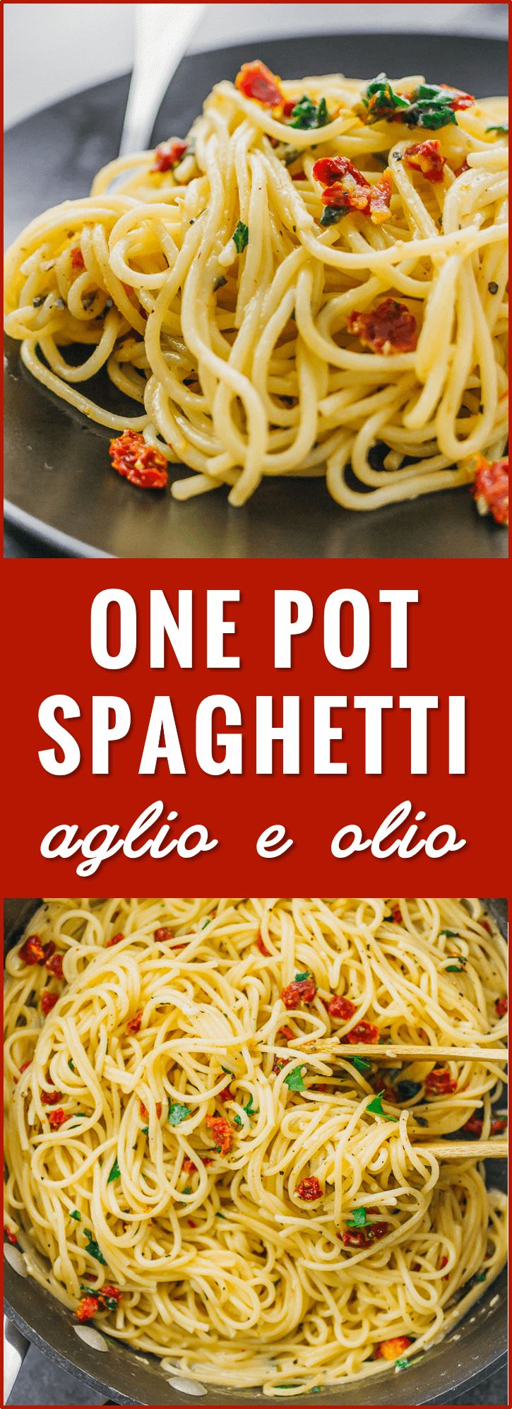 Spaghetti aglio e olio is one of my favorite simple, vegetarian pasta dishes: spaghetti noodles with grated parmesan cheese and diced sun-dried tomatoes, all cooked in one pot. recipe, easy, and meatballs, squash, with canned sauce, vegetarian, beef, crockpot, creamy, olive oil, ina garten, rezept, garlic, red peppers, zucchini noodles, simple via @savory tooth
