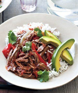 Recipe for Slow Cooker Cuban Braised Beef and Peppers.