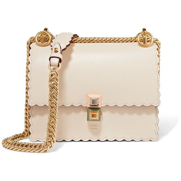 Fendi Kan I mini scalloped leather shoulder bag (88,780 DOP) ❤ liked on Polyvore featuring bags, handbags, shoulder bags, ivory, pink leather handbags, mini purse, leather shoulder bag, fendi purse and pink handbags