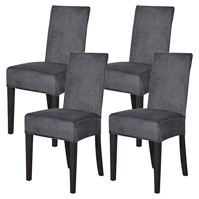 Mecerock Velvet Stretch Dining Room Chair Covers Soft Removable