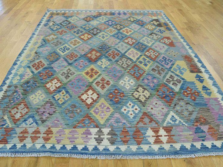 "5'10""x8' Afghan Veg Dyes Kilim Flat Weave Hand-Woven Pure Wool Rug #handmade #wool #rugs #carpet #store #sale #blue #rugs #woven #oriental"