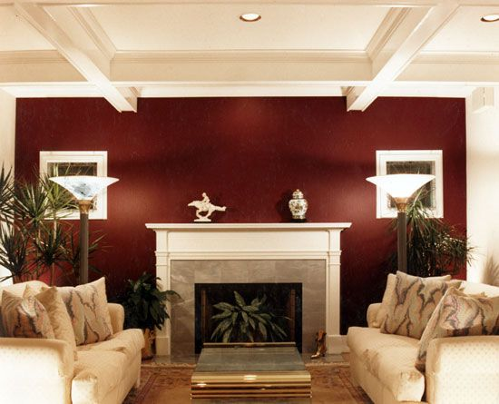 Burgendy accent wall burgundy accent wall in living room - Accent colors for beige living room ...