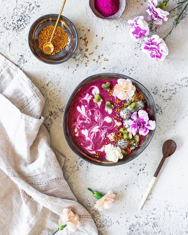 Pink Dragon Fruit Smoothie with Vanilla Swirl - Le Petit Eats