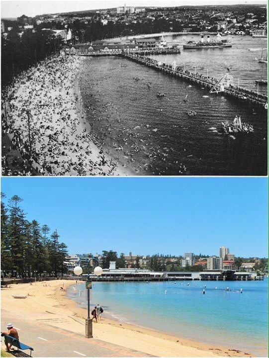 Manly Harbour pool & wharf c1947 - 2015. [State Library NSW / Kevin Sundgren. By Kevin Sundgren]