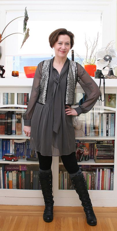 Cute dress, boots, & sparkly vest combo by Fashion For Nerds