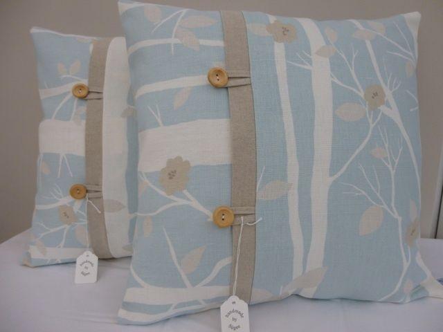 "Handmade - Laura Ashley Cottonwood Duck Egg Fabric Cushion Cover 17""x17"" - BNWT in Home, Furniture & DIY, Home Decor, Cushions   eBay"