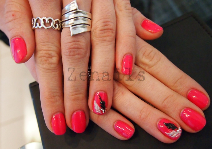 Neon pink with 3D feathers