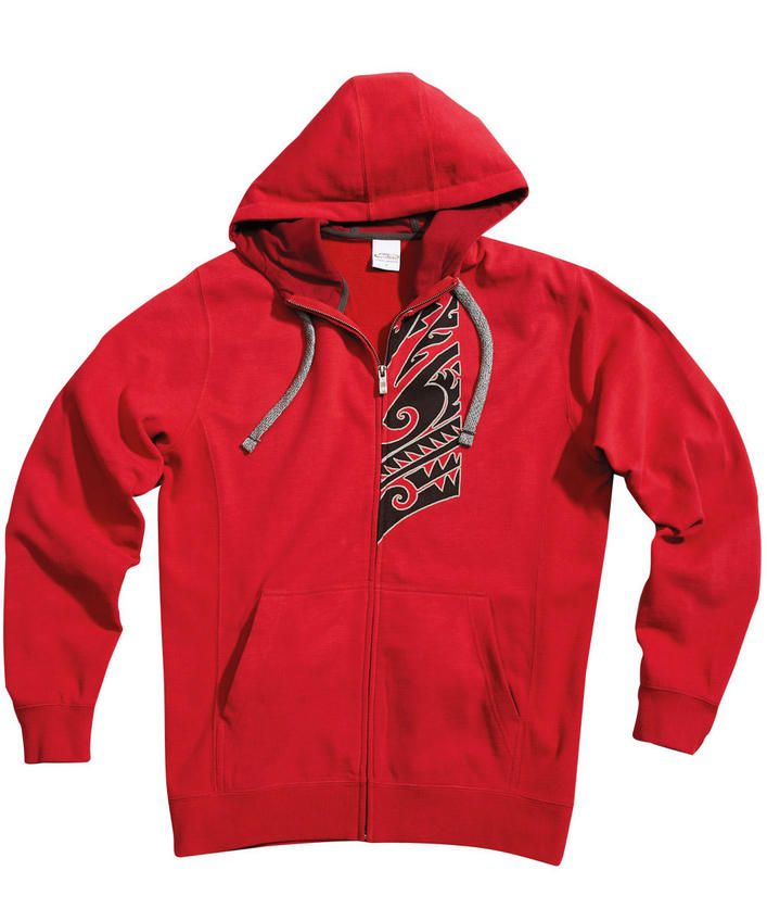 KT Pono - Crimson Red Rib Panel Zip Hoodie