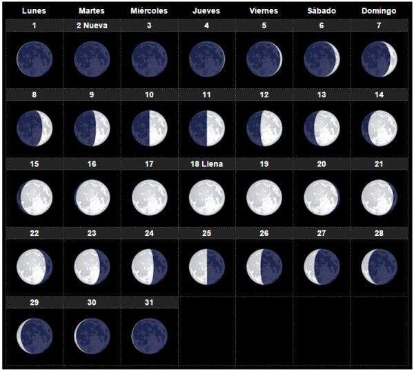 Las fases lunares de Agosto 2016