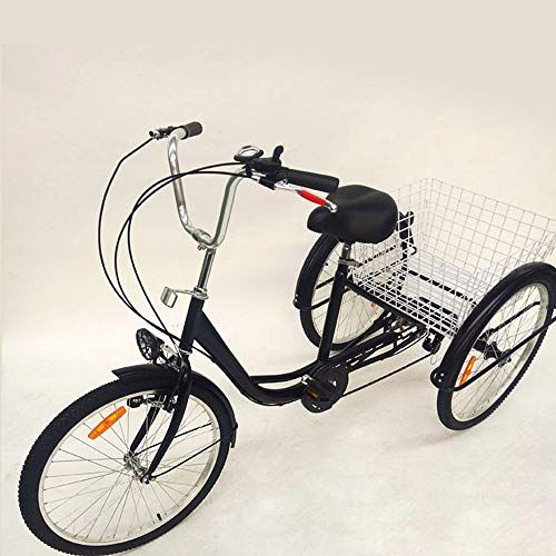 for Shopping Outdoor Picnic Sports OU BEST CHOOSE 24 3 Wheel Adult Tricycle with Lamp 6 Speed Bicycle Shopping Basket Trike Tricycle Pedal Cycling Bike