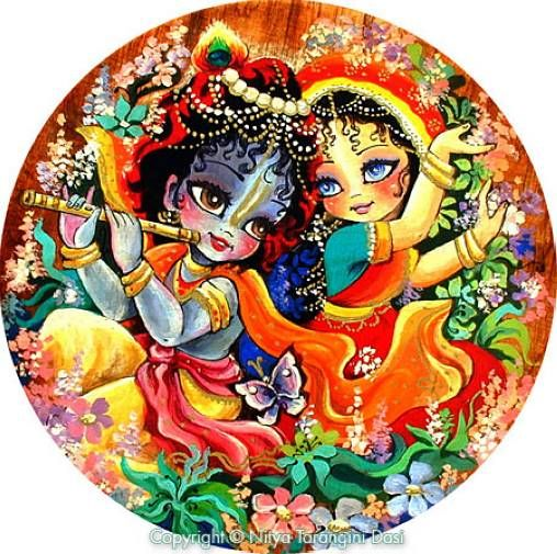 Young Radha and Krishna dance in the forest as Krishna plays his flute ...