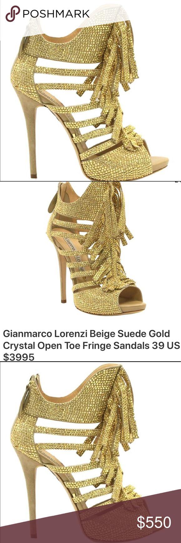 Lorenzo Stiletto shoe High end quality Gianmarco Lorenzo crystal studded sandals gold lorenzi Shoes Sandals