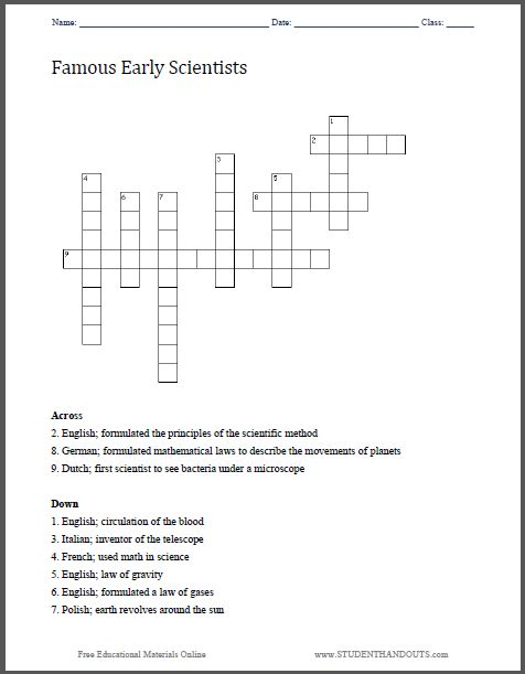 famous early scientists crossword puzzle free to print pdf worksheet on the scientific. Black Bedroom Furniture Sets. Home Design Ideas