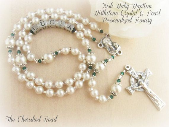 Irish Baby Baptism Birthstone Crystal & Personalized Rosary