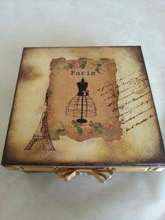 Arte lá em casa: Caixa para presente Paris
