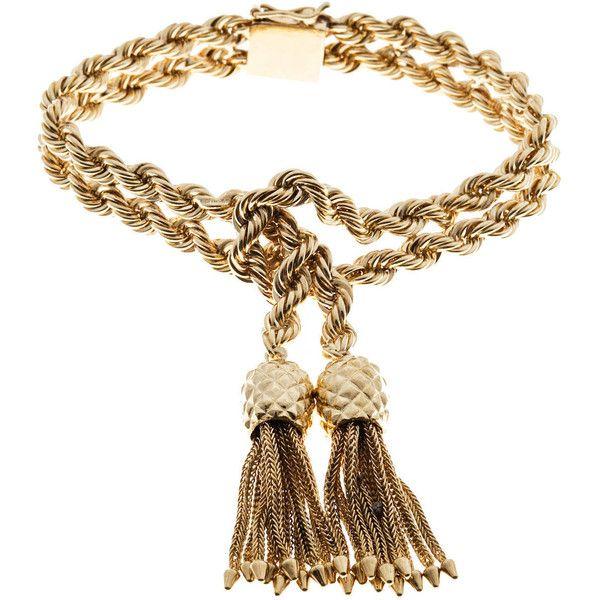 Pre-owned Tiffany & Co. Rope Knot Tassel Gold Bracelet ($4,570) ❤ liked on Polyvore featuring jewelry, bracelets, accessories, more bracelets, art deco bracelet, 14k bangle, gold rope bracelet, yellow gold bracelet and tassel bracelet