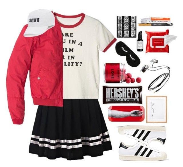 Playing With Fire by hellowaffles on Polyvore featuring Tommy Hilfiger, adidas Originals, BaubleBar, SO, Sephora Collection, Root Science, Hershey's, Fornasetti, Maroo and Anna Sui
