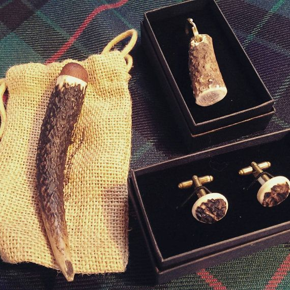 Antler kilt accessory set- kilt pin, key ring and cufflinks