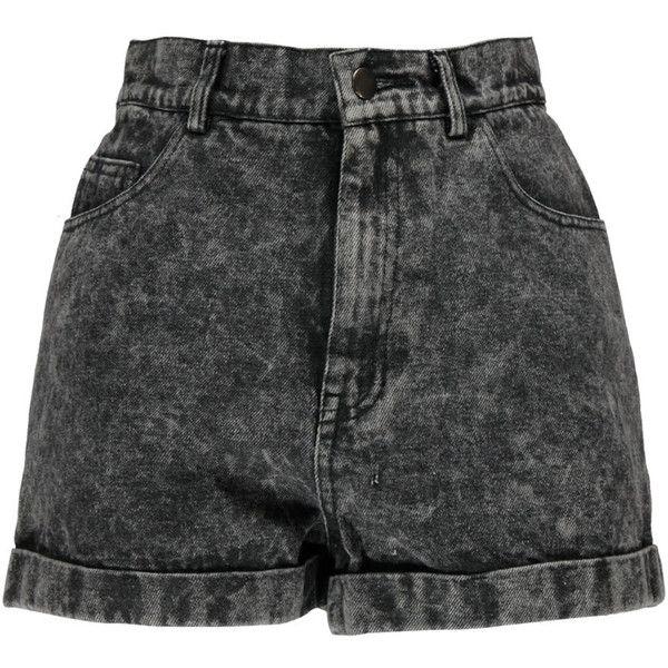 Boohoo Alice Grey Acid Wash High Waist Denim Shorts ($30) ❤ liked on Polyvore featuring shorts, bottoms, short, shorts/skirts, denim short shorts, high-waisted shorts, denim shorts, high-rise shorts and short shorts