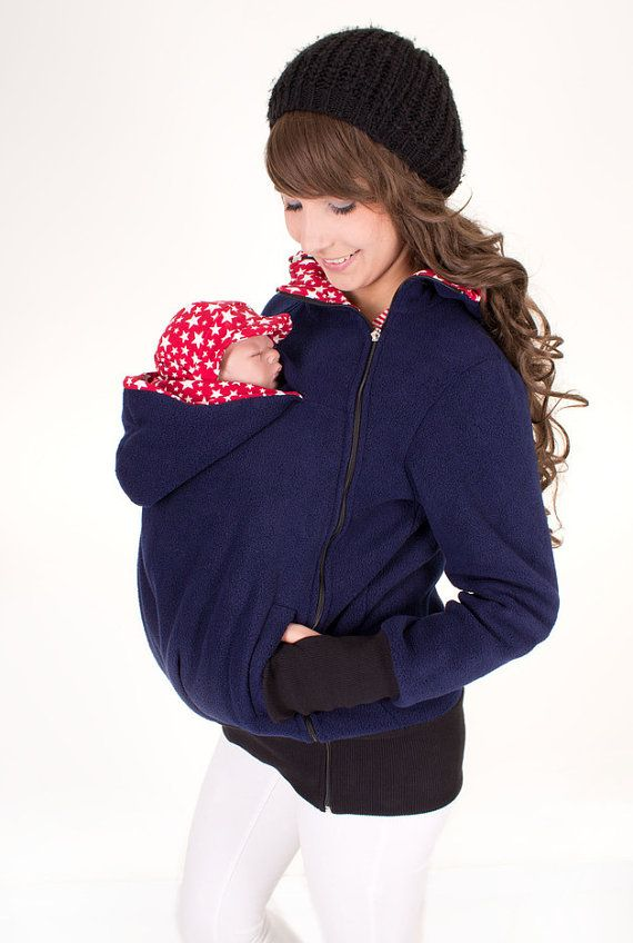 3-in-1 Fleece Babywearing Jacket in navy with red stars