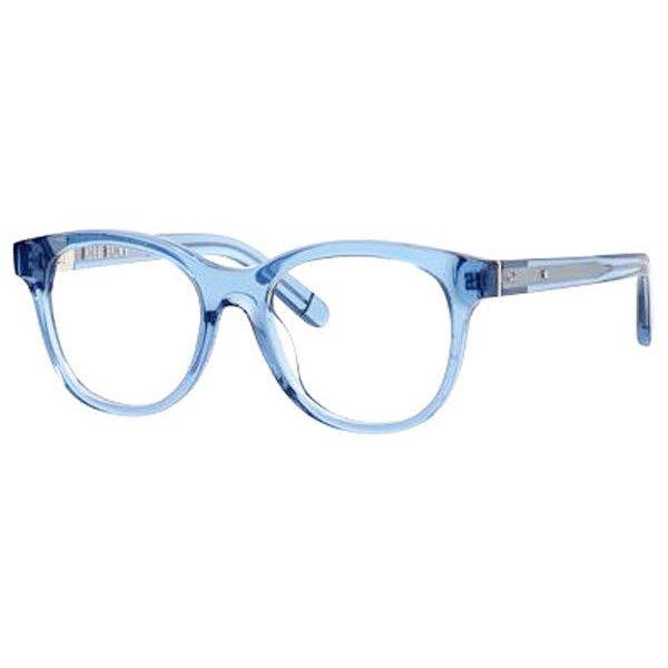 Bobbi Brown The Dalton 0ZT5 Eyeglasses ($130) ❤ liked on Polyvore featuring accessories, eyewear, eyeglasses, transparent blue, bobbi brown cosmetics, plastic glasses, transparent glasses, transparent eyeglasses and blue eyeglasses
