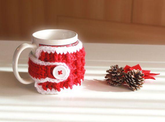 Copri tazza rosso fatto a mano ad uncinetto di UncinettinaStyle