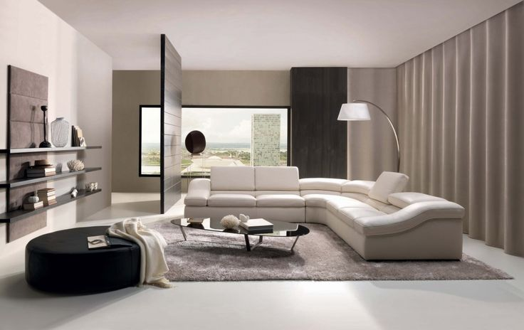 White Modern Living Room Design With Partition And L Shape Sofa