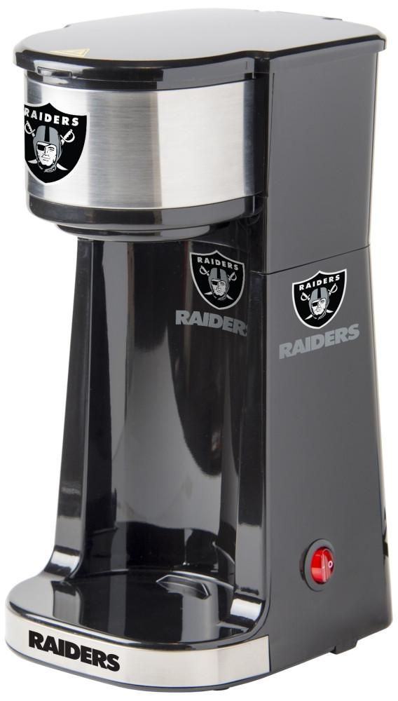 Caffeinate your game days with the single serve Oakland Raiders coffee maker. Small size with One Touch operation switch and light indicator. Free Shipping - Visit SportsFansPlus.com for more details!