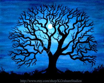 night sky owl silhouette acrylic | NIGHT TREE 8x10 Photographic Print from Original Painting by K Graham ...