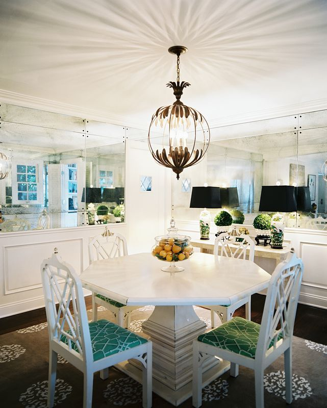 Decorate | Lonnymag.com: Idea, Lights Fixtures, Eclectic Dining Rooms, Chairs, Interiors Design, Dining Spaces, Mirror Wall, Small Spaces, Dining Tables
