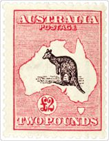 """1912: The """"Kangaroo and Map"""" stamp went on public display in April 1912, and was immediately controversial. Monarchists were offended that a cartoon kangaroo had replaced the King's head. Others complained that the stamp lacked a sense of design. One newspaper cartoon pointed out that the stamp made Australia look like a wasteland overrun by kangaroos. Love this kind of stamps."""