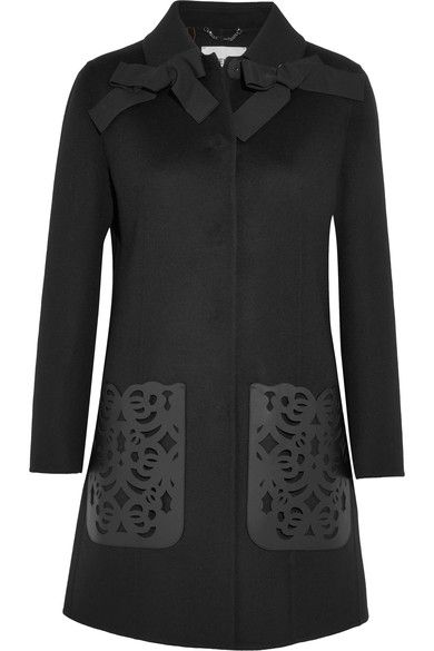Fendi - Leather-paneled Wool-felt Coat - Black - IT40