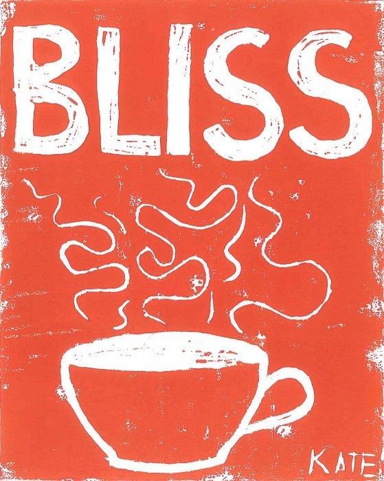 Morning Coffee Bliss: tangelo lino print - by littleadelaidekate on madeit