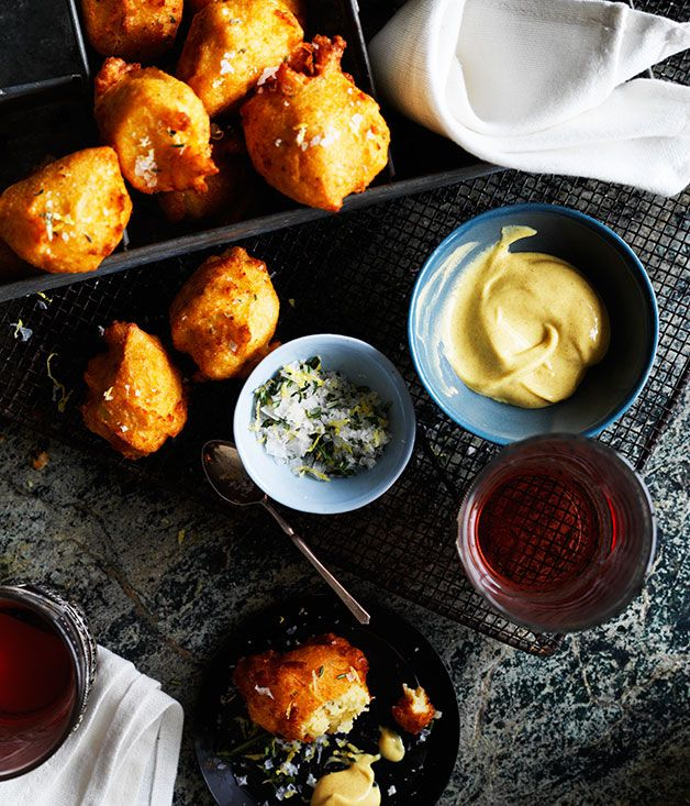 Pommes dauphine are little mouthfuls of mashed potato, lightened with choux pastry, then deep-fried. We've seasoned ours with a fragrant herb salt; they're also amazing with kombu butter.