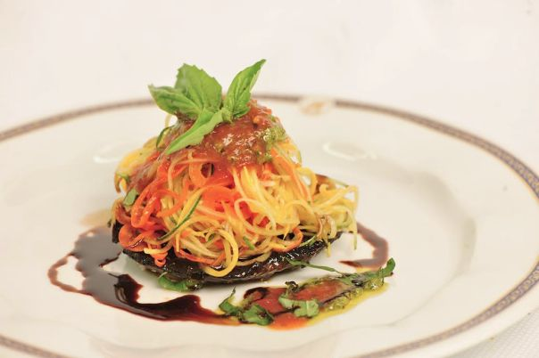 Vegetarian rejoice! Holland America serves this incredible Vegetable Spaghetti with Grilled Portabella Mushroom dish.