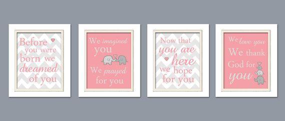 Nursery Quad, Pink and Grey Nursery, Elephant Nursery, Set of 4 8X10, Pink, Grey, Nursery Poem on Etsy, $42.00
