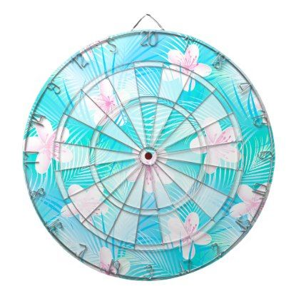 Tropical pink frangipani dartboard with darts - floral style flower flowers stylish diy personalize