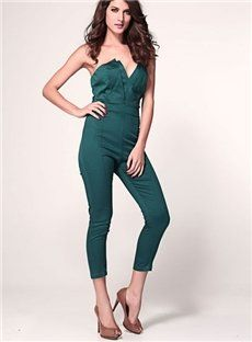 New Style Sexy Comfortable Black Strapless Jumpsuit