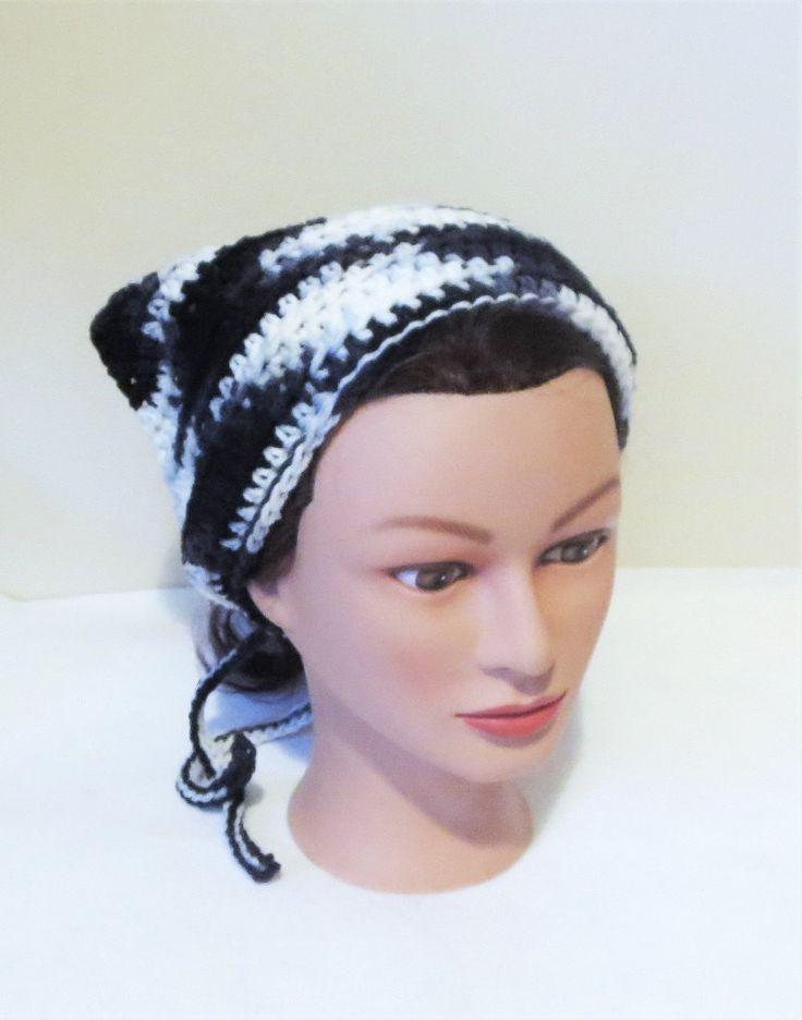 Black and White Crochet Bandana, Kerchief, Tie On Bonnet. by TiStephani on Etsy