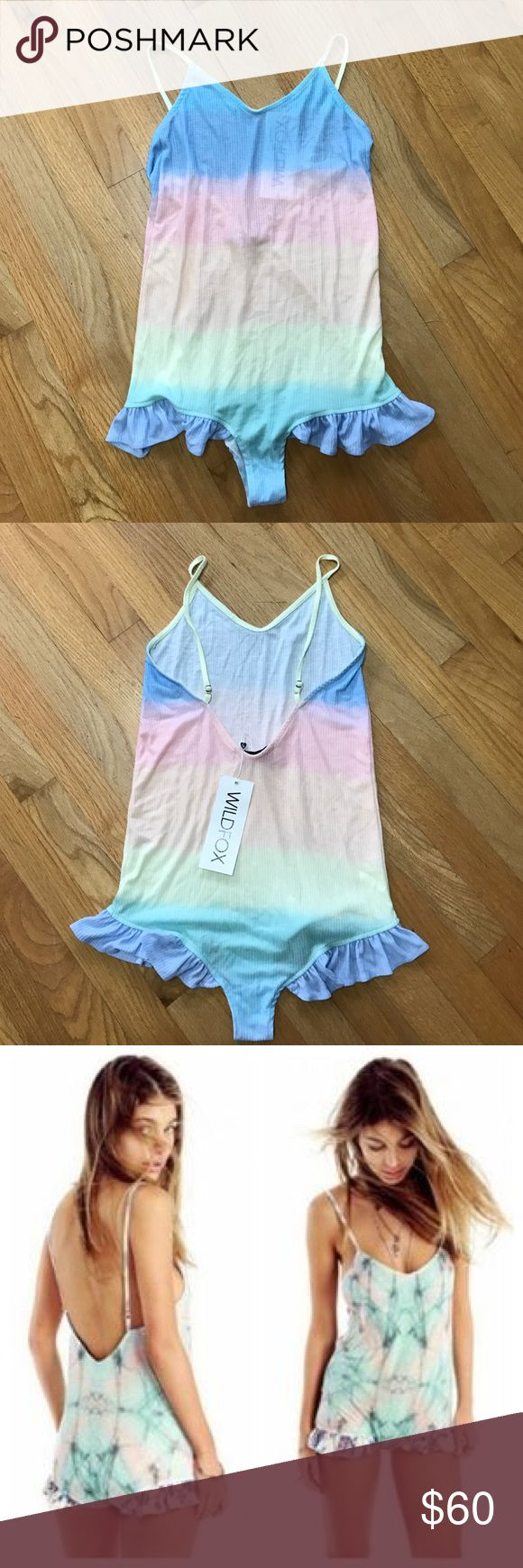 Wildfox rainbow ruffle romper 🌈 Cute rainbow ombre romper by wildfox NWT. Last pic is justo show fit Wildfox Other