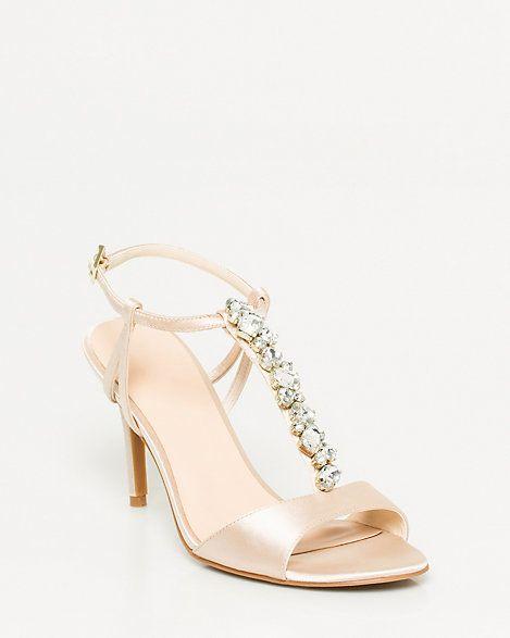 Jeweled Satin T-Strap Sandal