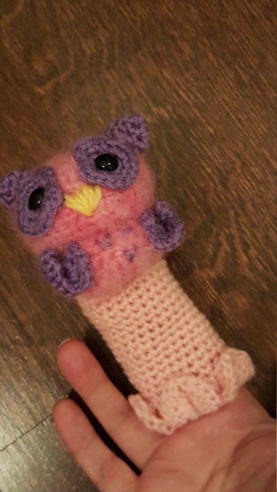 Fuzzy Owl Hand Rattle or Sock Rattle by PurpleLilacAmigurumi