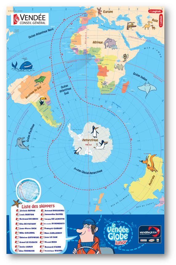 Teacher Charlotte: Poster du parcours du Vendée Globe 2016 (et liste des skippers)