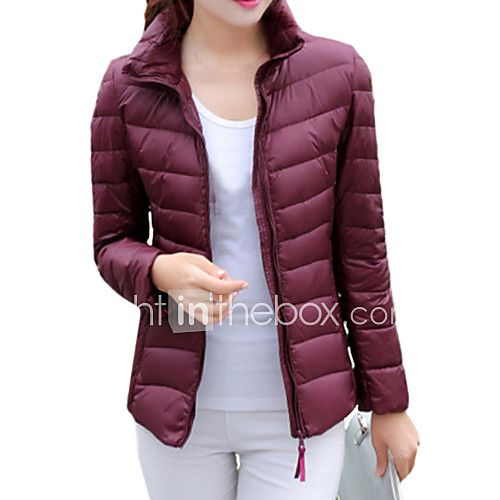 Women's Regular Down Coat Plus Size Solid White Duck Down Long Sleeve Stand 2017 - $18.99